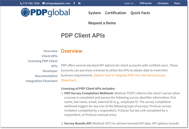 API webpage