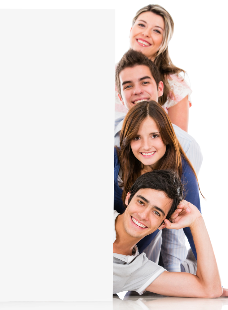 Happy group of people with a banner - isolated over a white background