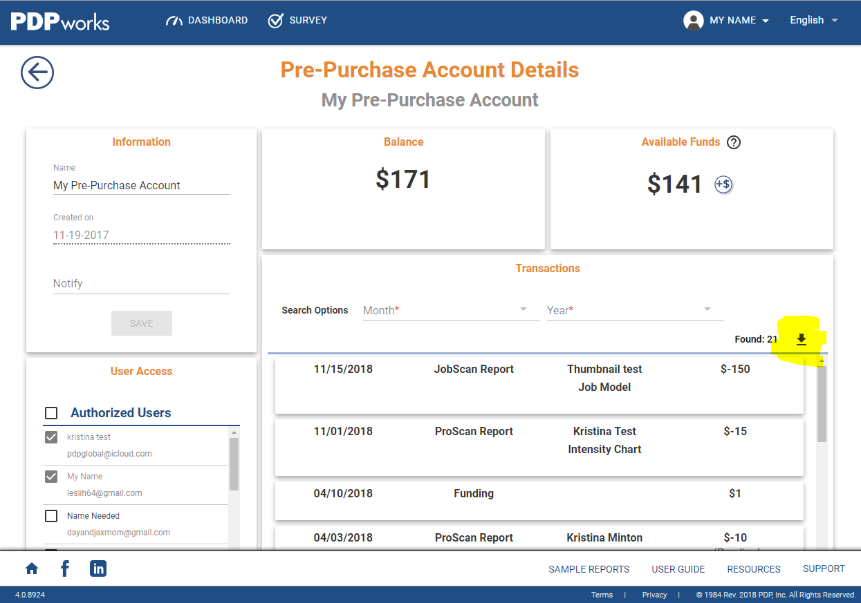 Download List—Pre-Purchase Account Transactions